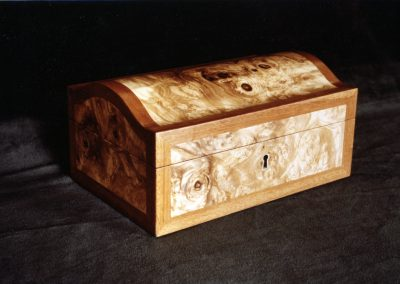 Olive-Ash Burl Arch-Topped Jewelry Box