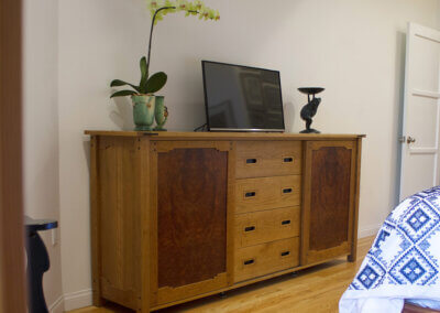 Cherry & Redwood Burl Media Cabinet